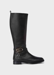Lydia Leather Block Heel Knee Boots, Black, hi-res