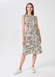 Evangeline Printed Dress, Cream Black, hi-res