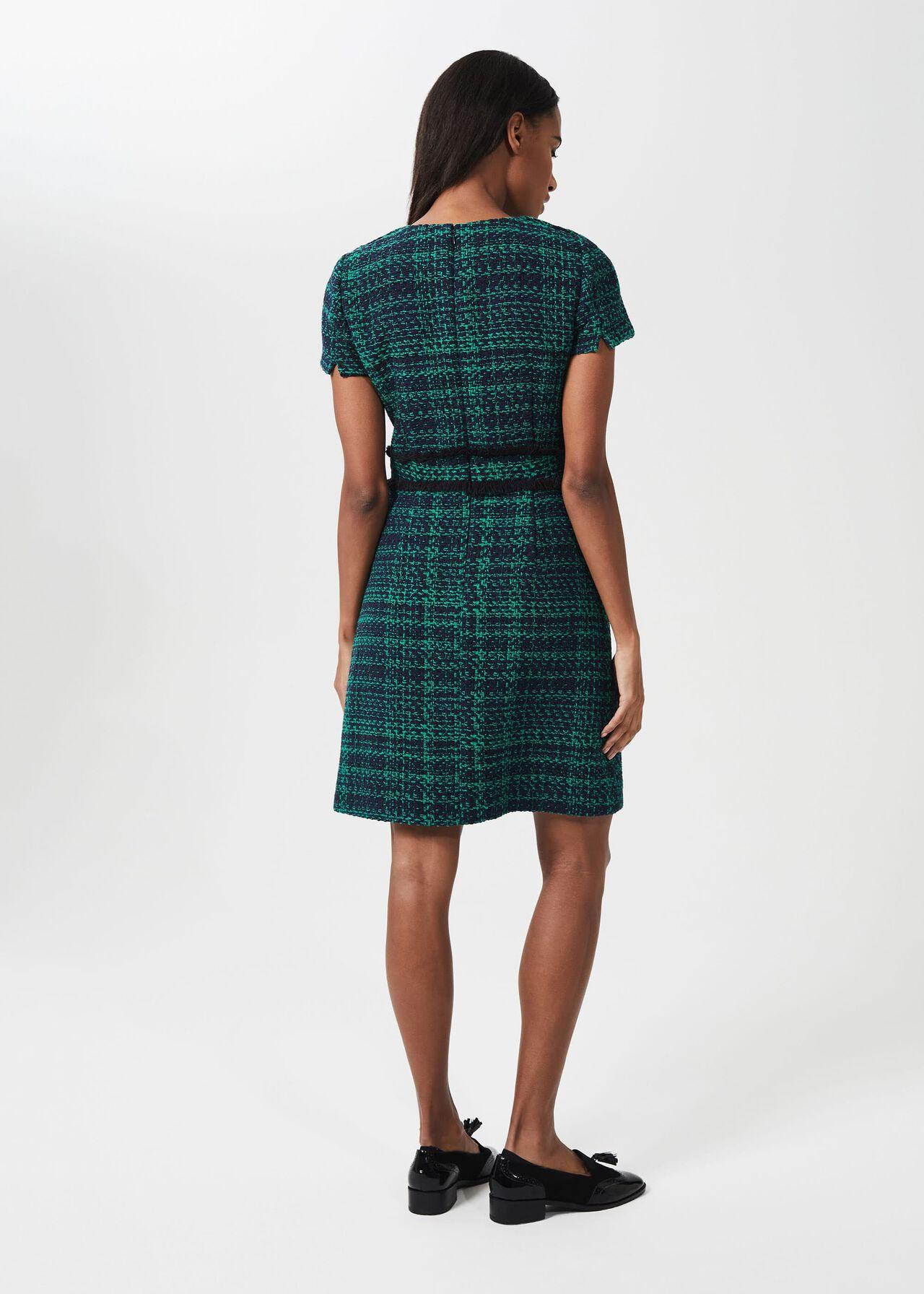 Rosa Tweed A Line Dress, Navy Apple Grn, hi-res