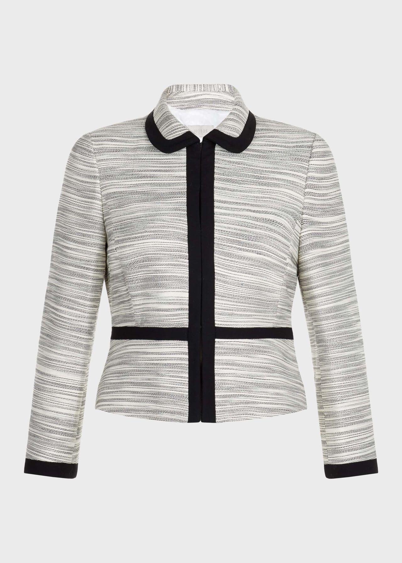 Amira Cotton Blend Collar Jacket Neutral Black