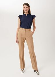 Martina Wool Blend Straight Trousers, Stone, hi-res
