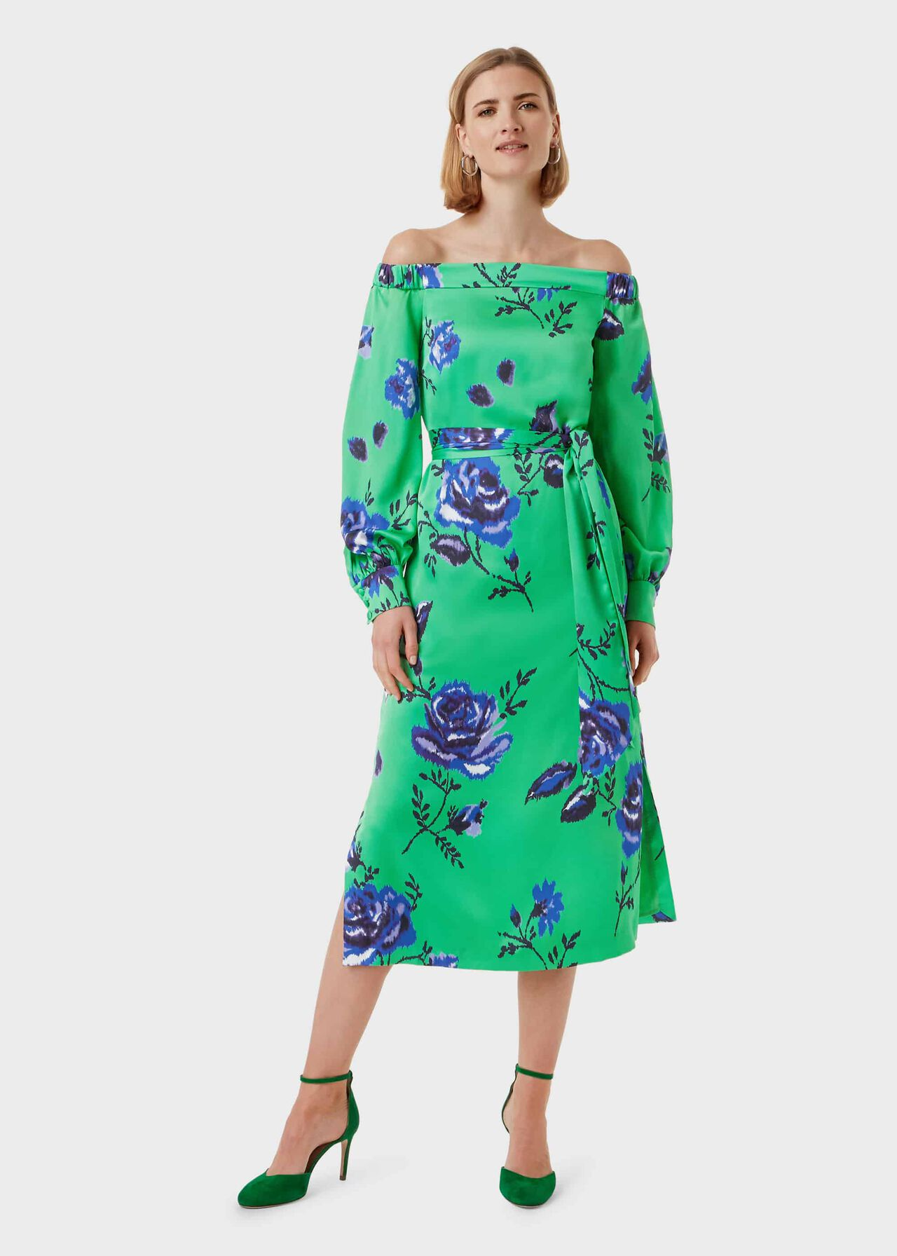 Miriam Floral Bardot Dress, Green Blue, hi-res