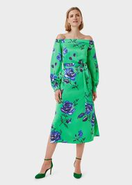 Miriam Floral Bardot Dress, Green Blue, hi-res