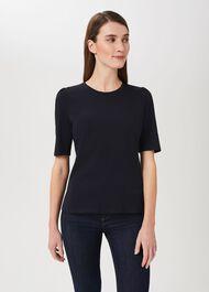 Eva Puff Sleeve T-Shirt, Navy, hi-res