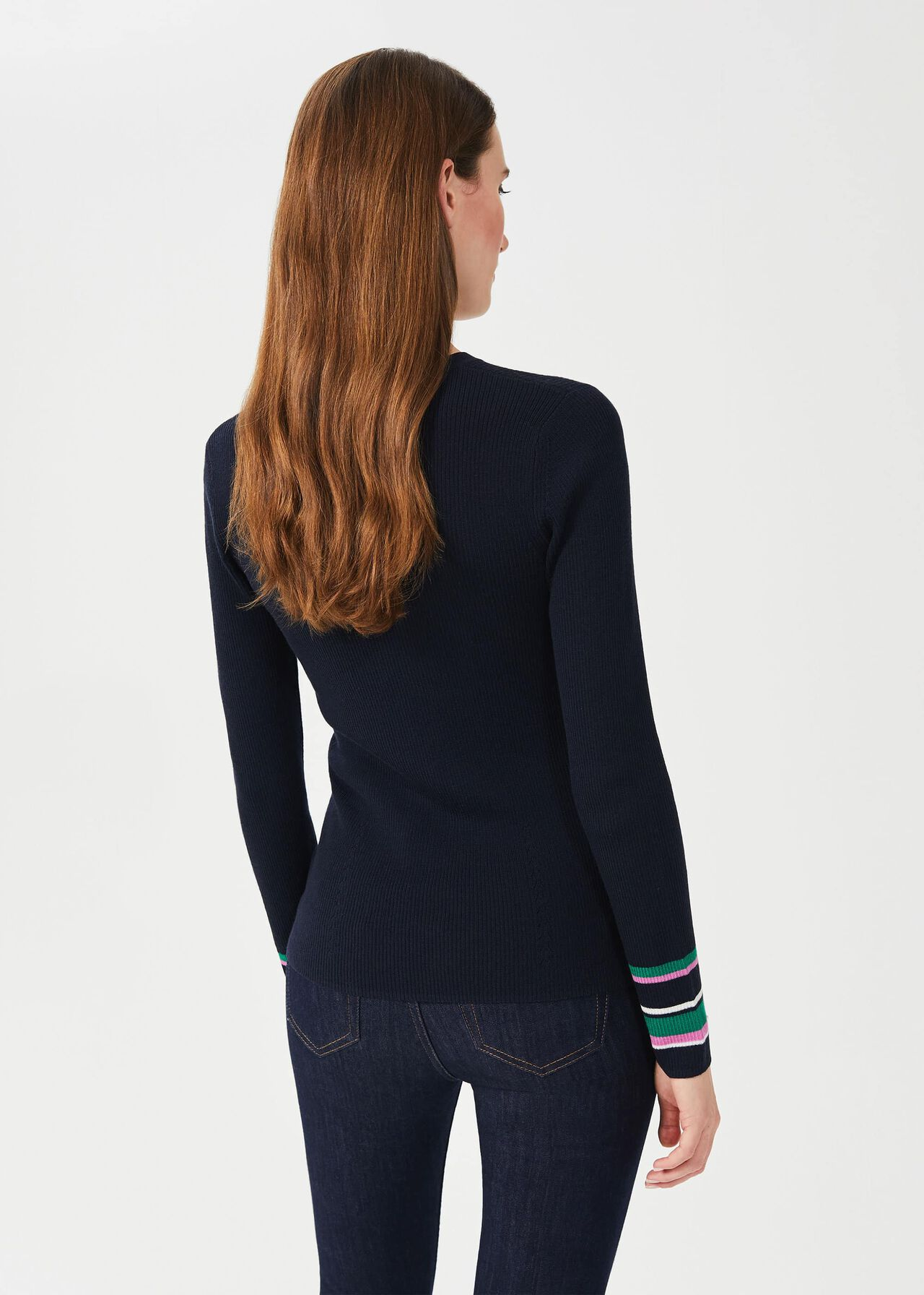 Clare Merino Wool Jumper, Navy Multi, hi-res