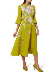 Sadie Silk Dress, Chartreuse Mlt, hi-res