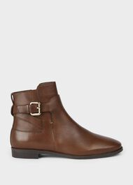Zoe Leather Ankle Boots, Chestnut, hi-res