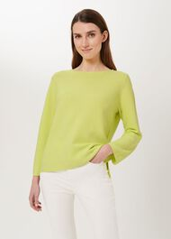 Beatrice Cotton Jumper, Lime Green, hi-res