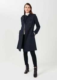 Saskia Water Resistant Trench Coat, Navy, hi-res