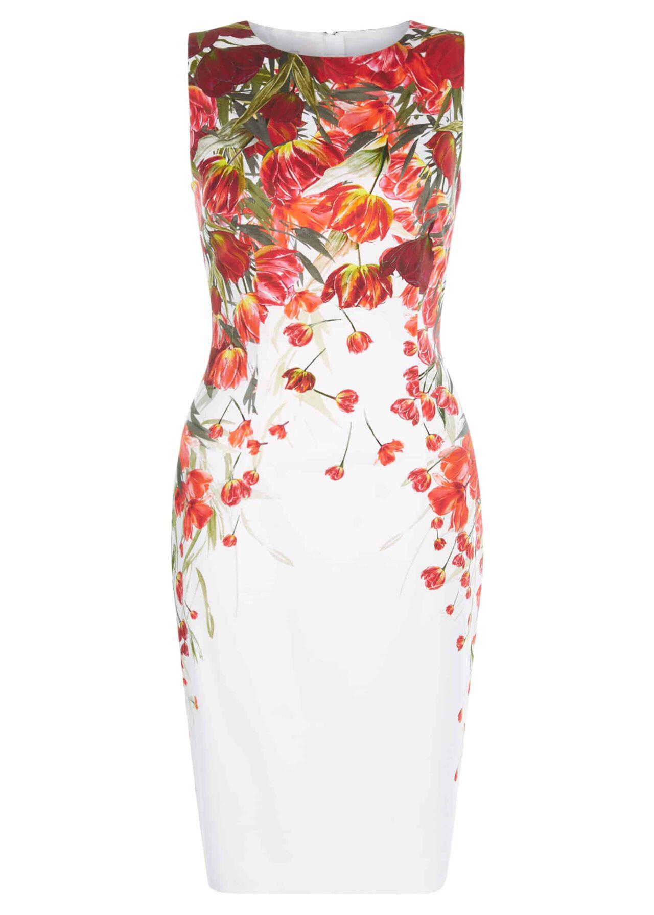 Fiona Dress Ivory Red Multi