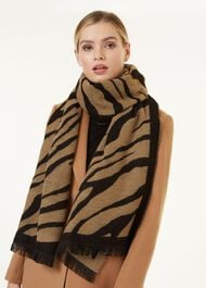 Zebra Scarf, Neutral, hi-res