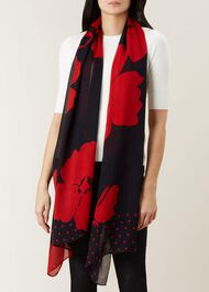 Delphine Scarf, Navy Red, hi-res
