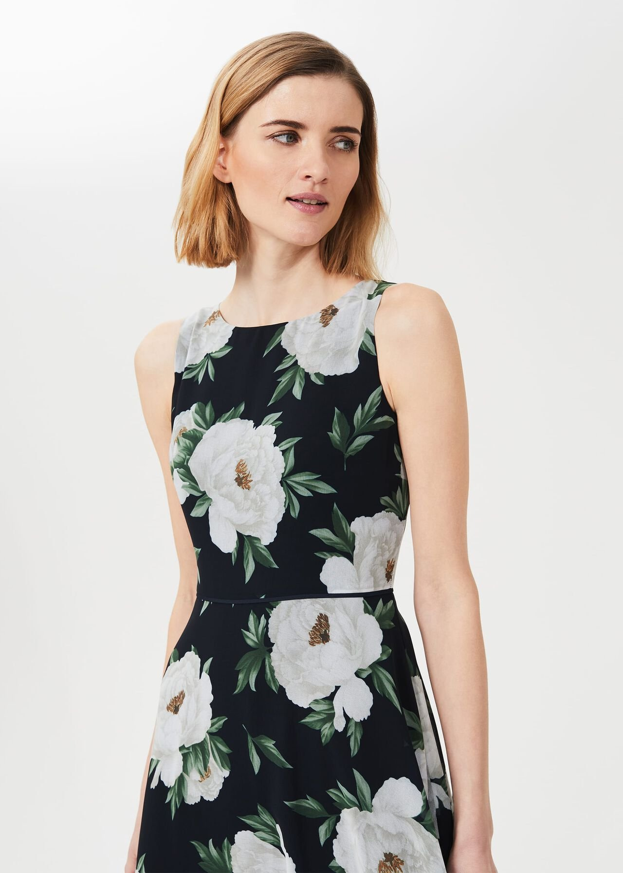 Carly Floral Dress, Navy Ivory, hi-res