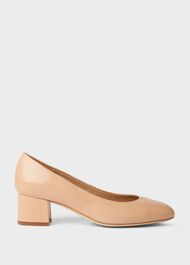 Natalie Wide Fit Leather Block Heel Court Shoes, Nude, hi-res