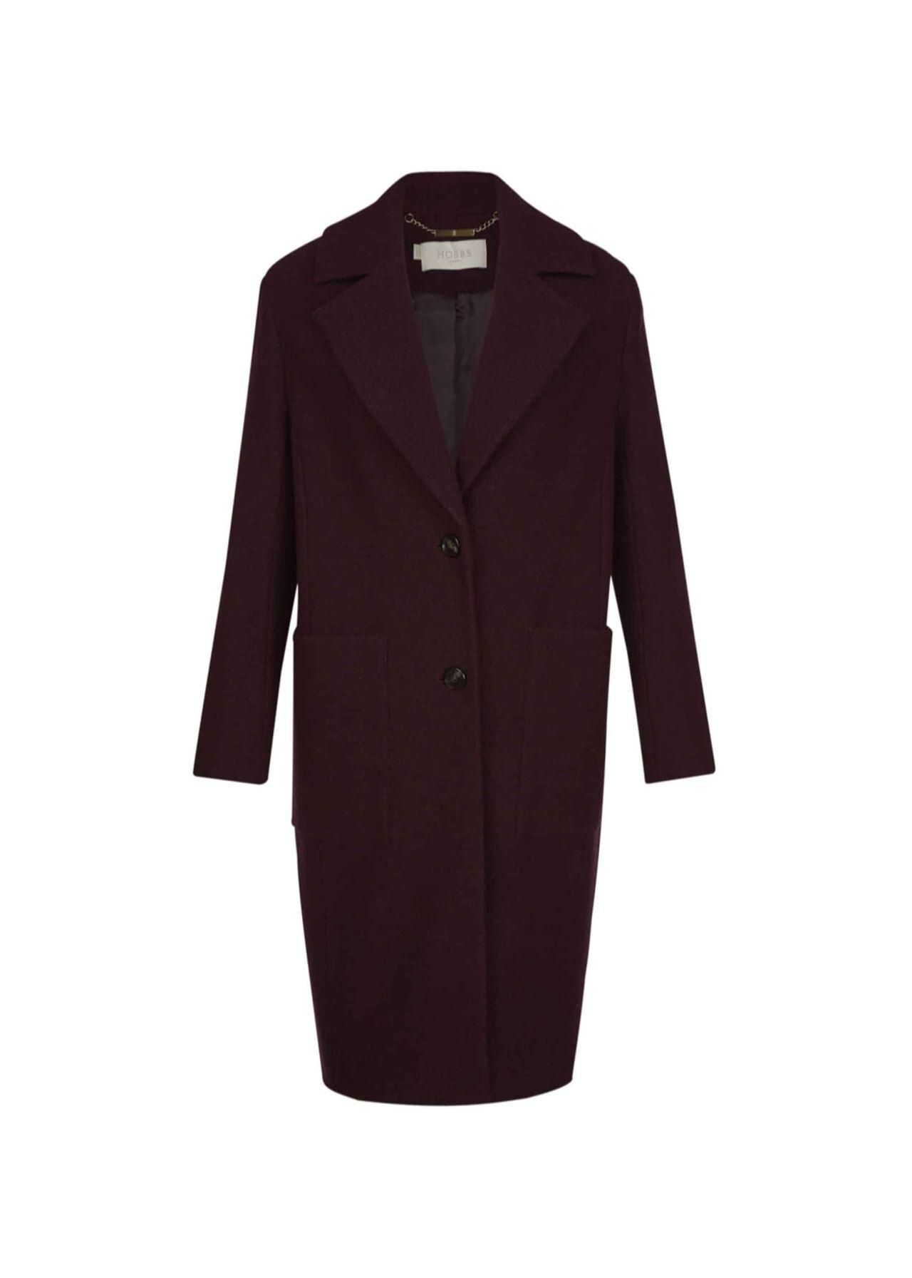 Rani Wool Blend Coat Aubergine