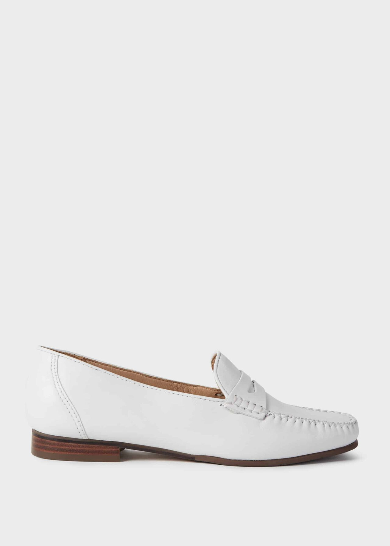 Holly Leather Moccasins, White, hi-res