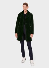 Ioanna Faux Fur Collar Coat, Dark Green, hi-res