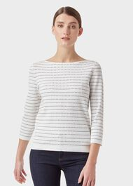 Robin Sweater, Ivory Navy, hi-res