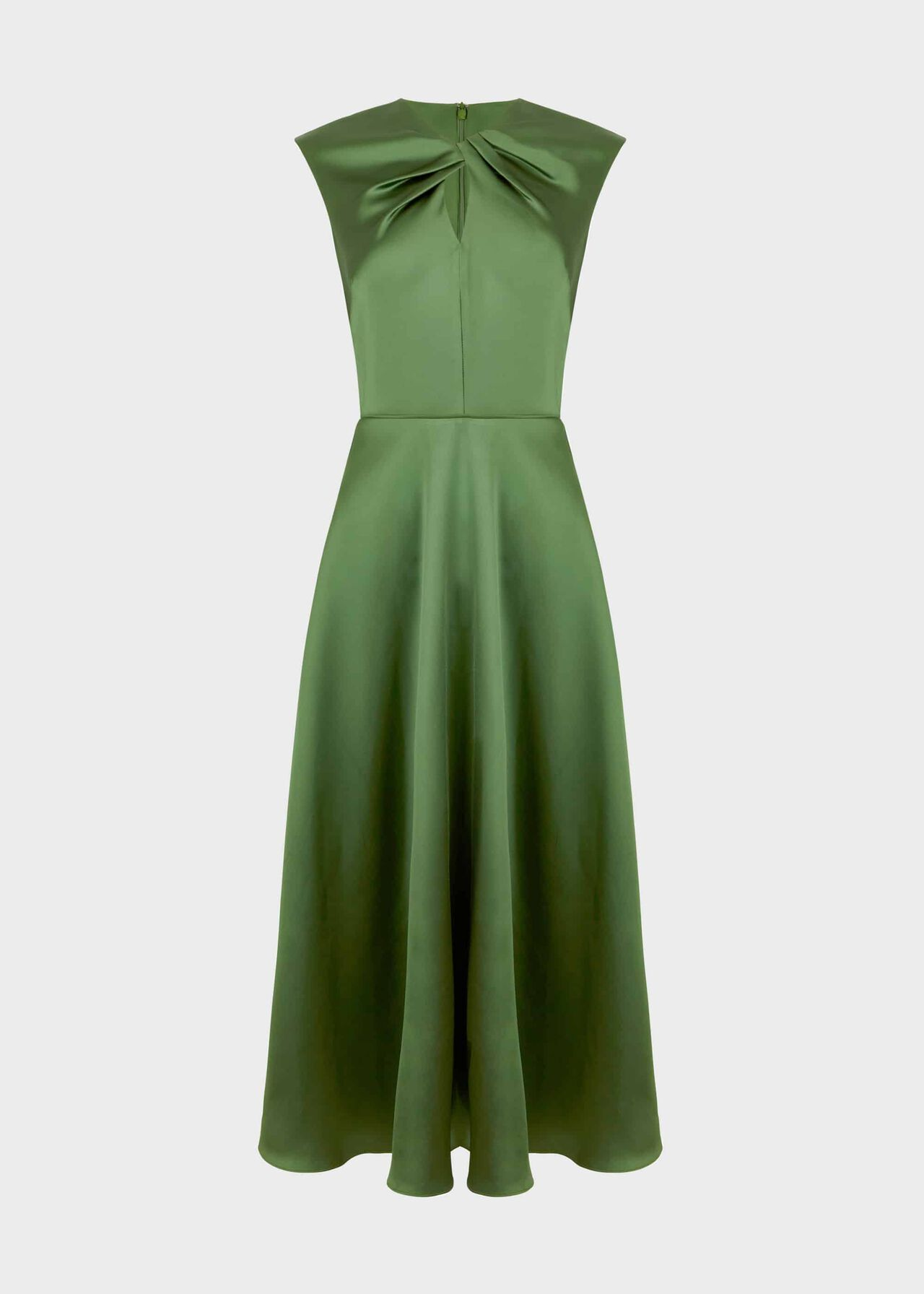 Cassandra Twist Neck Satin Dress Fern Green