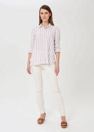 Steph Linen Shirt, Ivory Multi, hi-res