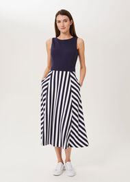 Stevie Jersey Dress, Navy Ivory, hi-res