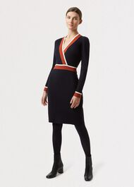 Helena Knitted Dress, Navy Orange, hi-res