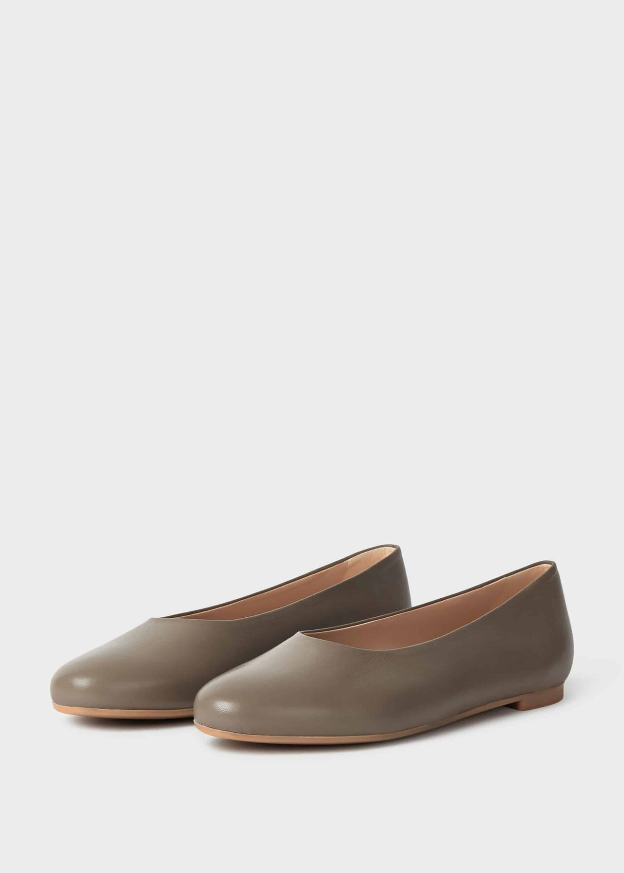 Suki Leather Ballerinas Stone