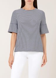 Gee Fluted Sleeve Top, Navy, hi-res