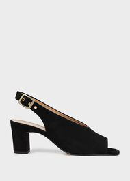Kali Suede Block Heel Sandals, Black, hi-res