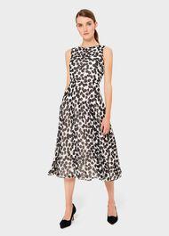 Carly Printed Midi Dress, Ivory Black, hi-res