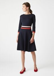 Seasalter Dress, Navy Red, hi-res
