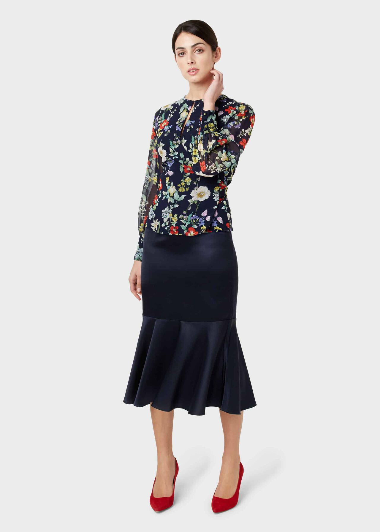 Amberlee Satin Skirt, Midnight, hi-res
