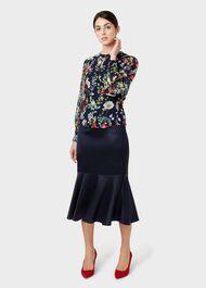 Amberlee Satin Skirt, Midnight, hi-res