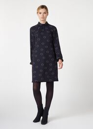 Clarice Dress, Navy Black, hi-res