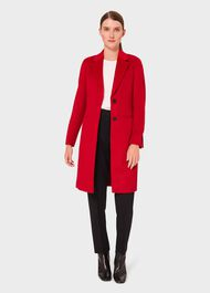 Petite Tilda Wool Collar Coat, Red, hi-res