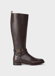 Lydia Leather Block Heel Knee Boots, Espresso, hi-res