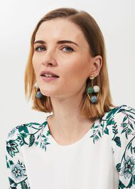 Lacey Resin Earrings, Blue Green, hi-res