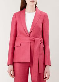Anthea Linen Jacket, Raspberry Pink, hi-res