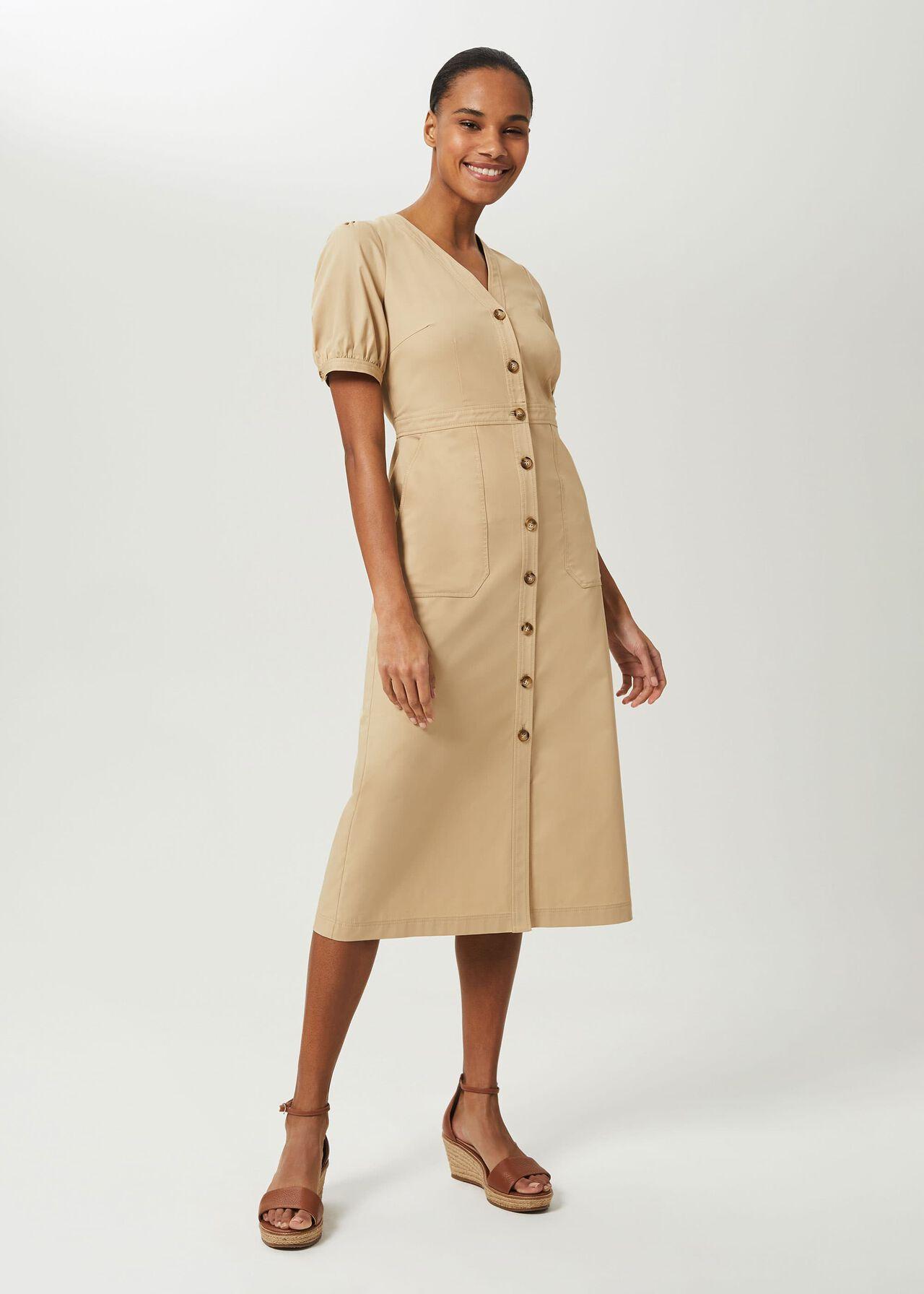 Adaline V Neck Midi Dress, Sand, hi-res