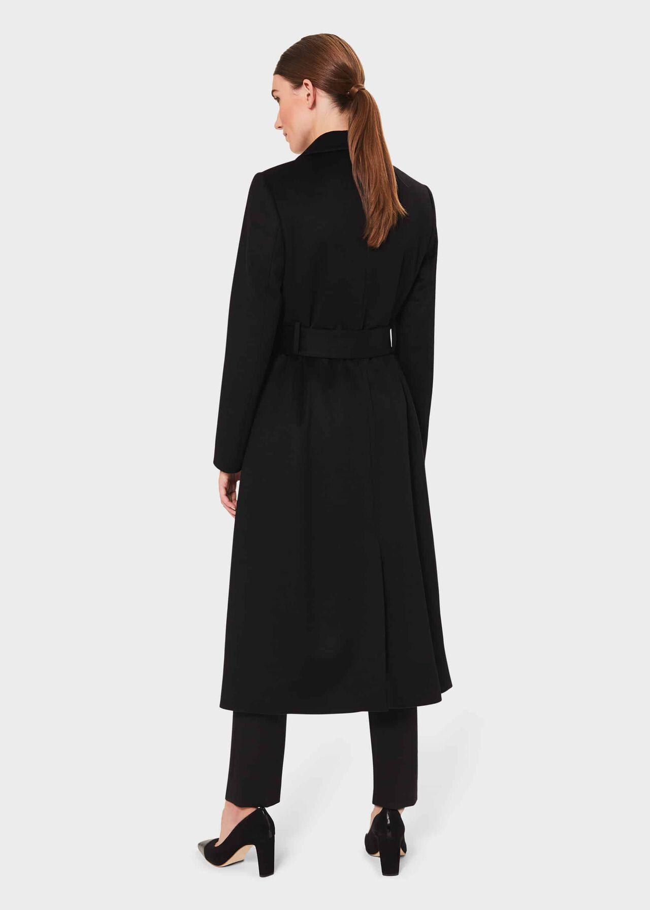 Petite Olivia Wool Wrap Coat, Black, hi-res