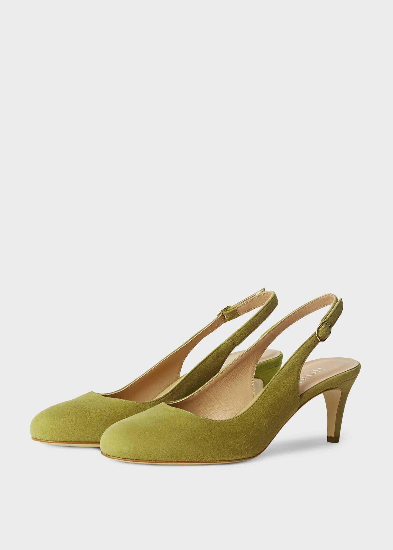 Emma Suede Stiletto Slingback Court Shoes Leaf Green