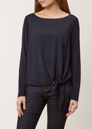 Maisie Tie Front Top, Navy, hi-res