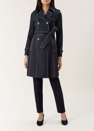 Saskia Trench Coat, Navy Ivory, hi-res