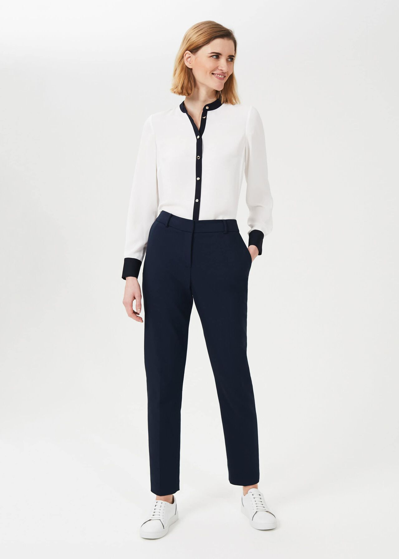 Quin Tapered Trousers With Stretch, Navy, hi-res