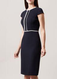 Elizabeth Dress, Navy Ivory, hi-res