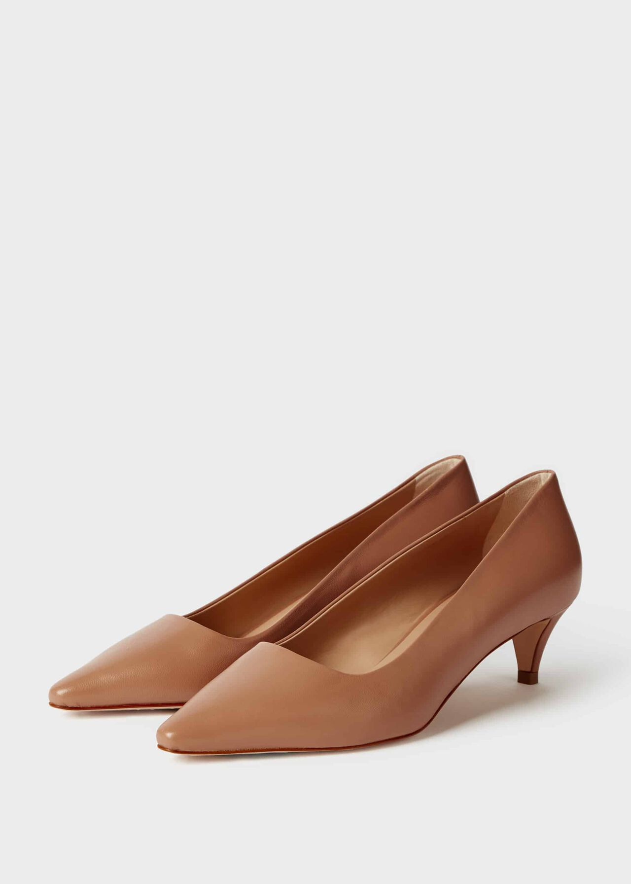Millie Leather Kitten Heel Court Shoes Toasted Almond