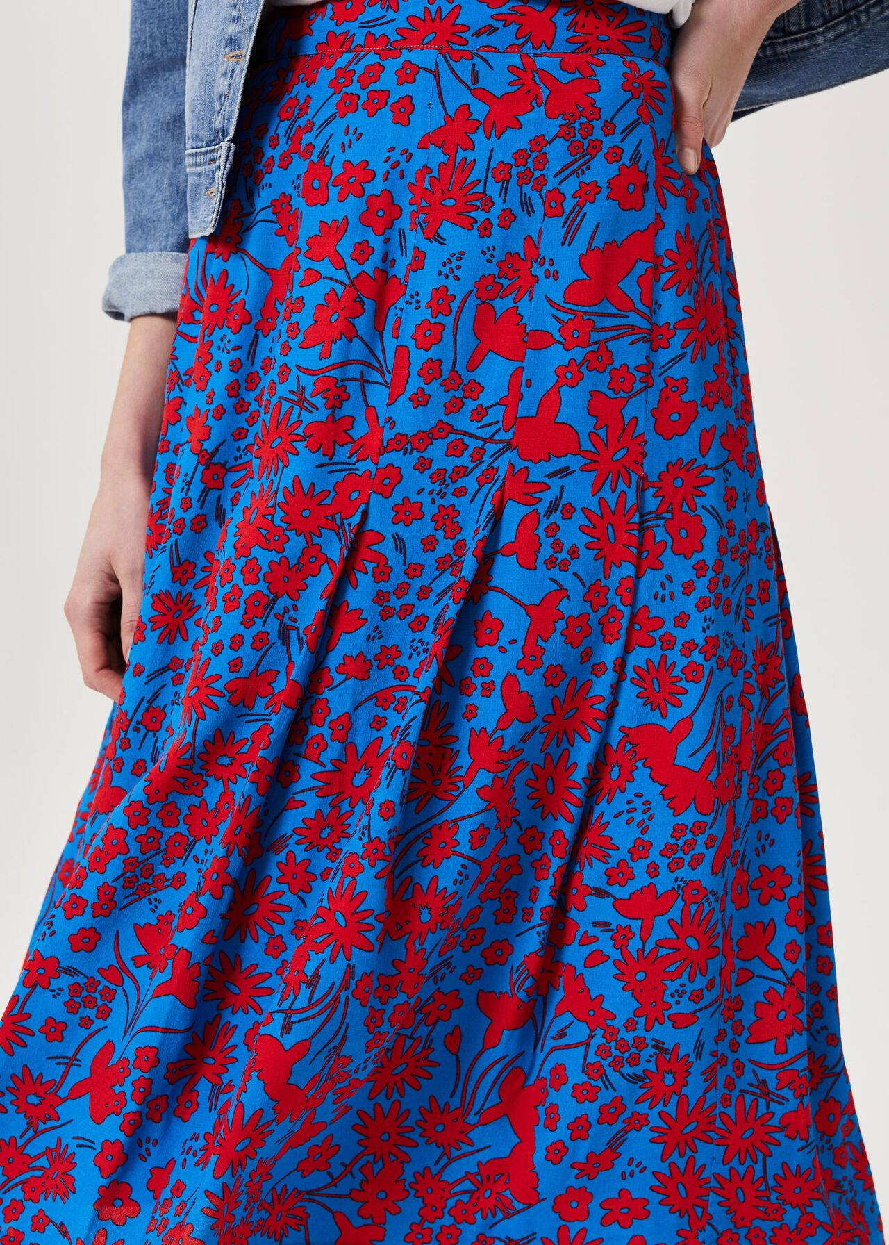 Diane Floral Midi Skirt, Red Azure Blue, hi-res