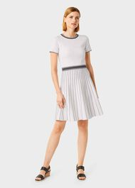 Millie Knitted Dress, Ivory Black, hi-res