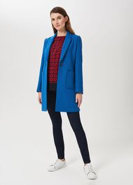 Petite Corina Coat With Wool, Azure Blue, hi-res