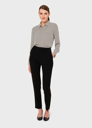 Alana Dogtooth Top, Buttermilk Blk, hi-res